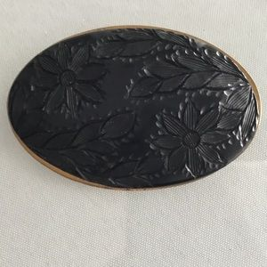 Vintage 60s Black Carved Lucite & brass brooch/pin